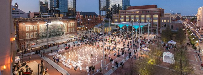 Sundance square in the heart of downtown Ft. Worth with restaurants, fountains, Starbucks, etc.