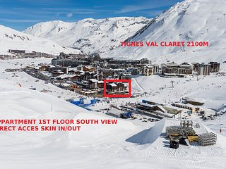 Tignes apartment 4 sleeps comfort access funicular exceptionnal location