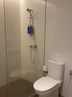 clean bathroom with water heater, complimentary shampoo, shower gel and towels