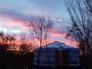 Romantic wild Mongolian yurt.