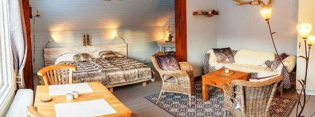 The 2 bedroom apartment is cozy and you enjoy a rustic Swedish wildlife theme
