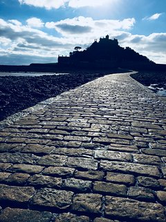 Causeway to St Michaels Mount accessed at low tide and well worth a visit