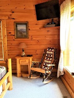 Rock Away the stress on the gorgeous Amish rocking chairs throughout the cabin.