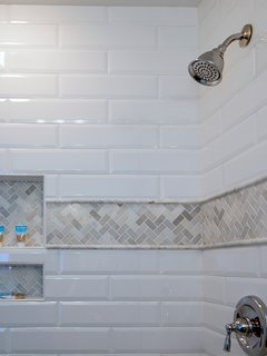 Tiled shower in the guest bathroom.