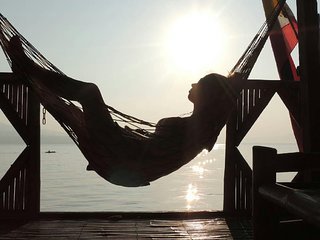 relax in the bahay kubo and enjoy from the sunset