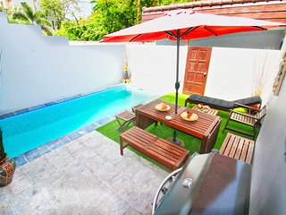 Private Pool Villa with BBQ area close to beach & night market!