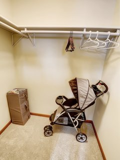 A stroller, Pack-n-Play, and booster seat are provided.