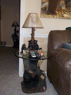 Bear End Table with Bear Lamp