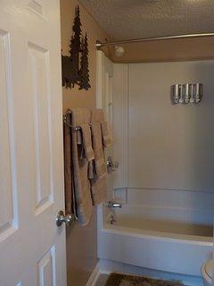 Master Tub/Shower with Shampoo/Conditioner/Body Wash Dispenser