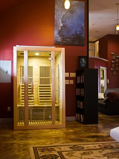 The infrared sauna. Heats to 150 degrees and has a Mp3 jack for music. Sit right in the space.