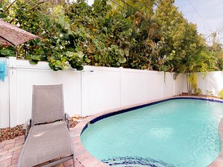 Dog-friendly retreat with a heated lagoon-style pool - two blocks to the beach!