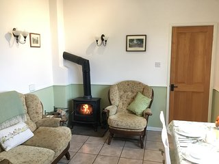 The wood burning stove helps create a cosy atmosphere when it's cold outside.