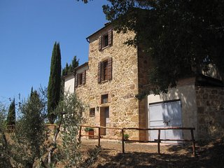 Villa Mulinello, secluded in the country, panorama over Montepulciano valley.