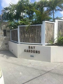Front entrance to the gated Bay Gardens