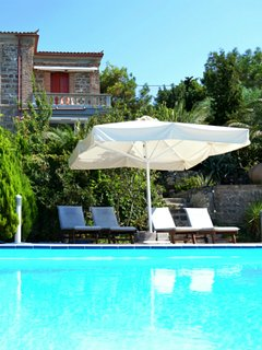 Molyvos holiday home rental  with 4BR, balcony, garden and pool
