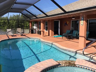 New summer rates!  Just listed! 3 bed pool & spa home in NW Cape Coral!