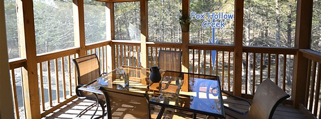 Screened in porch backs up to Fox Hollow Creek. Quiet and serene at the end of a cul-de-sac.