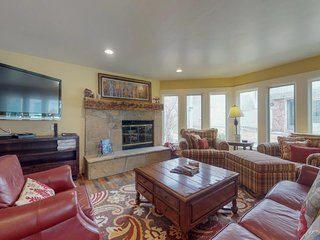 Marvelous riverfront home with private hot tub & easy ski access!