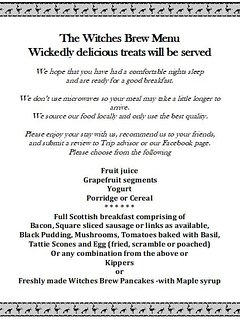 Choose from the Witches Brew Menu at Cnoc Beag and enjoy deliciously prepared food