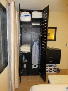 Extra linens, towels, iron/ironing board and a safe