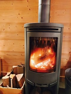Super efficient wood burner heats the whole chalet in no time!