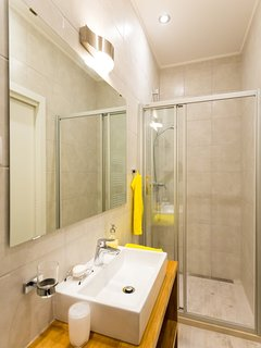 The design bathrooms have shower, WC, warm towel trail, heating floor and hairdryer.