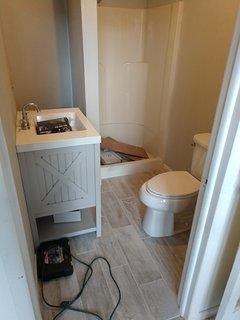 Bathroom.  We adjusted vanity to a pedestal
