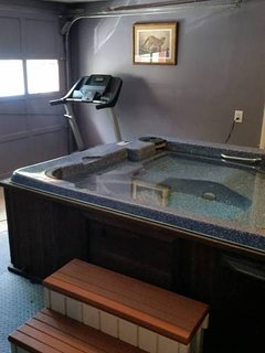 Hot tub in converted garage area