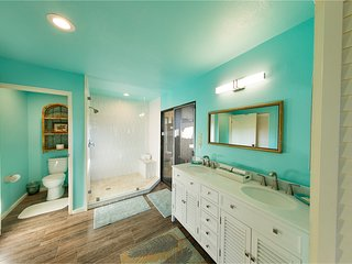 Spacious master bath has water closet, walk-in shower with bench, double vanity and laundry