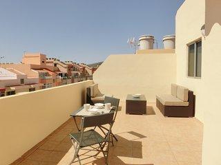 Baños de sol. Coqueto ático con una estupenda terraza.
