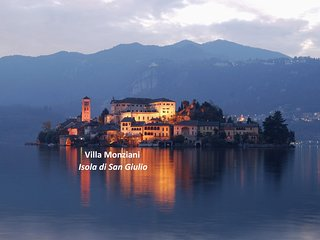 17th C Villa on San Giulio Island, Lake Orta, waterfront garden, boat & garage.