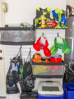 Lots of snorkel gear, coolers, swim jackets/floaties, toys for pool/ocean