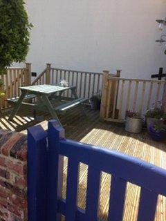 The sunny deck area