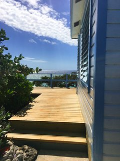 Your gloimpse of the ocean as you walk to the cottage deck.