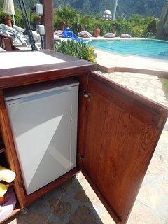 fridge at poolside