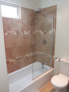 Bath tub with shower over