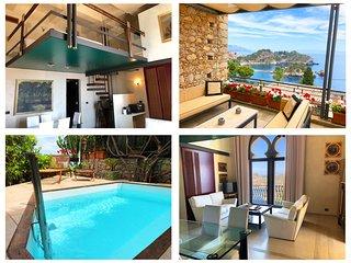 VILLA ELEONORA ISOLA BELLA Sea View Private Small Pool + Jacuzzi  Taormina