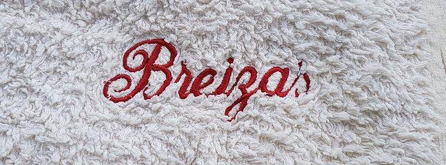 Breizas logo on house towels