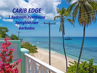 Carib Edge beachfront penthouse, stunning west coast of Barbados, fully AC