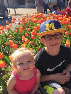 Tulip Time 2018 - our grandkids, Eden and Gaige downtown Holland