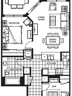 The floor plan for the 1 Bedroom Condo with Den