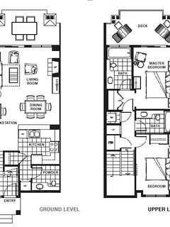 The floor plan for the 2 Bedroom Villa: Lakeside