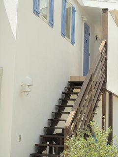 The stairs and the entrance of the apartment