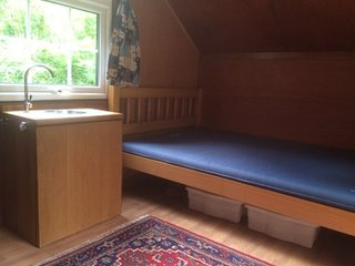 4 foot double bed with camping mattress