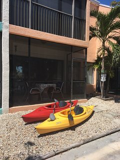 Paddle the lagoon with our two kayaks!