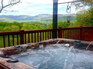 A hot tub with a gorgeous long range view!