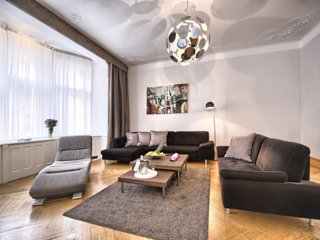 Spacious living room with comfortable sofas