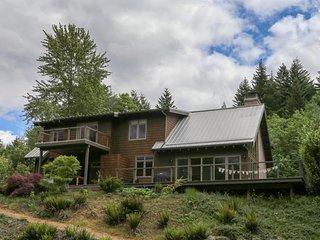 Dog-friendly home w/ private sauna, hot tub, & huge deck w/ views of the Gorge