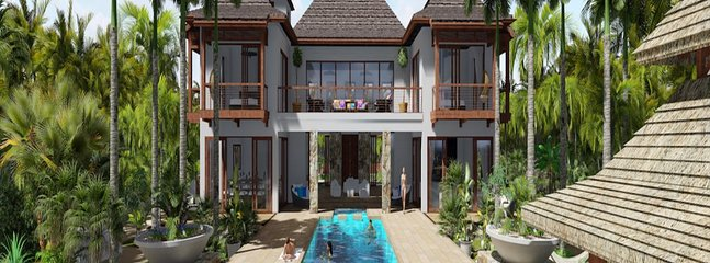 Luxury Cayman Villas Kempa Kai Rear Elevation Pool Rendering