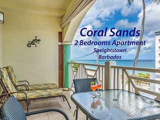Coral Sands beachfront apt., Barbados, stunning West Coast, AC bedrooms